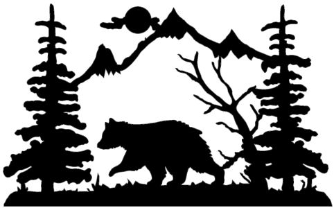 Bear In Forest Silhouette.