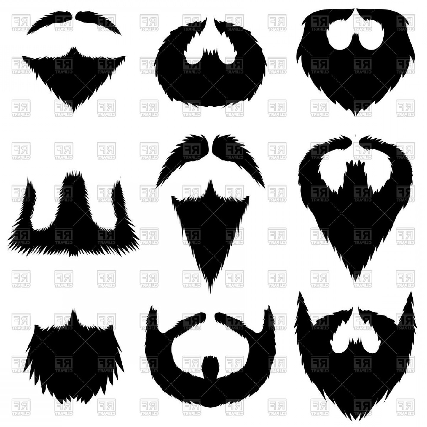 Set Of Mustaches And Beards Vector Clipart.