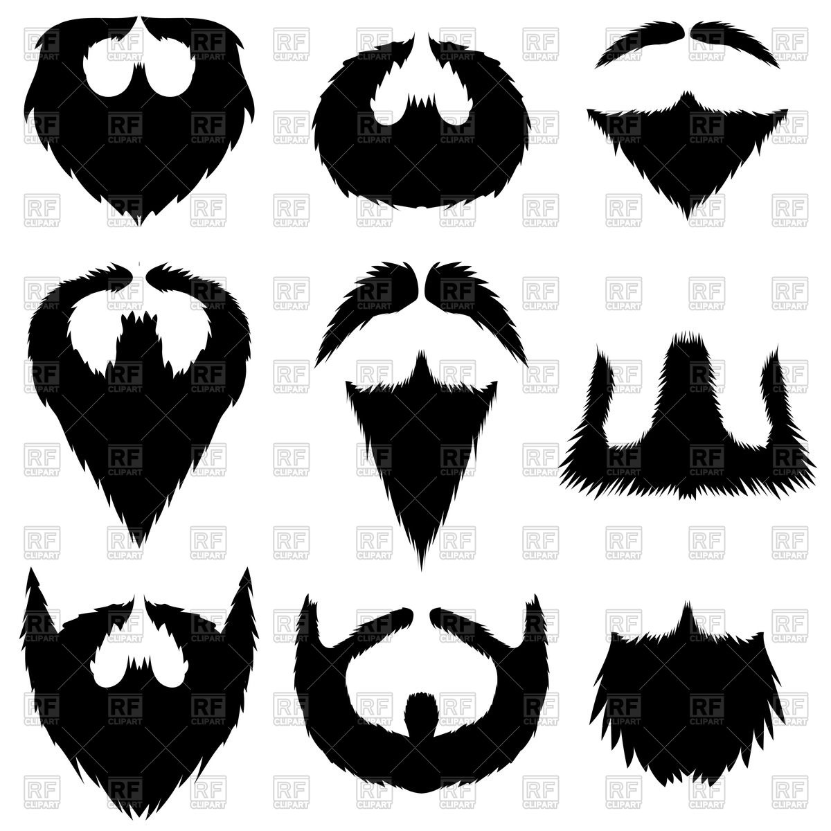 Set of mustaches and beards Stock Vector Image.