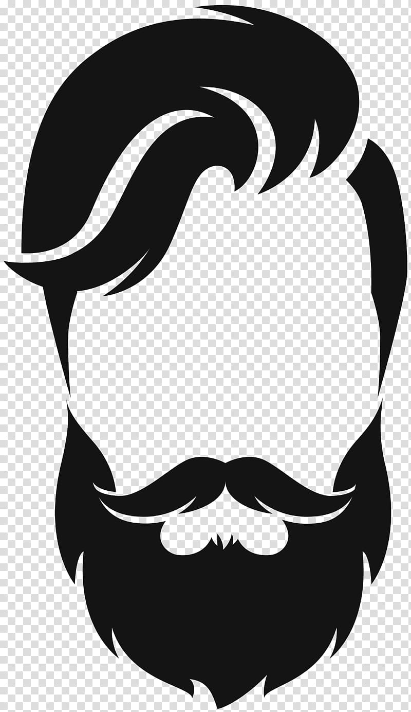 Silhouette Beard Moustache , hair style, beard and hair illustration.
