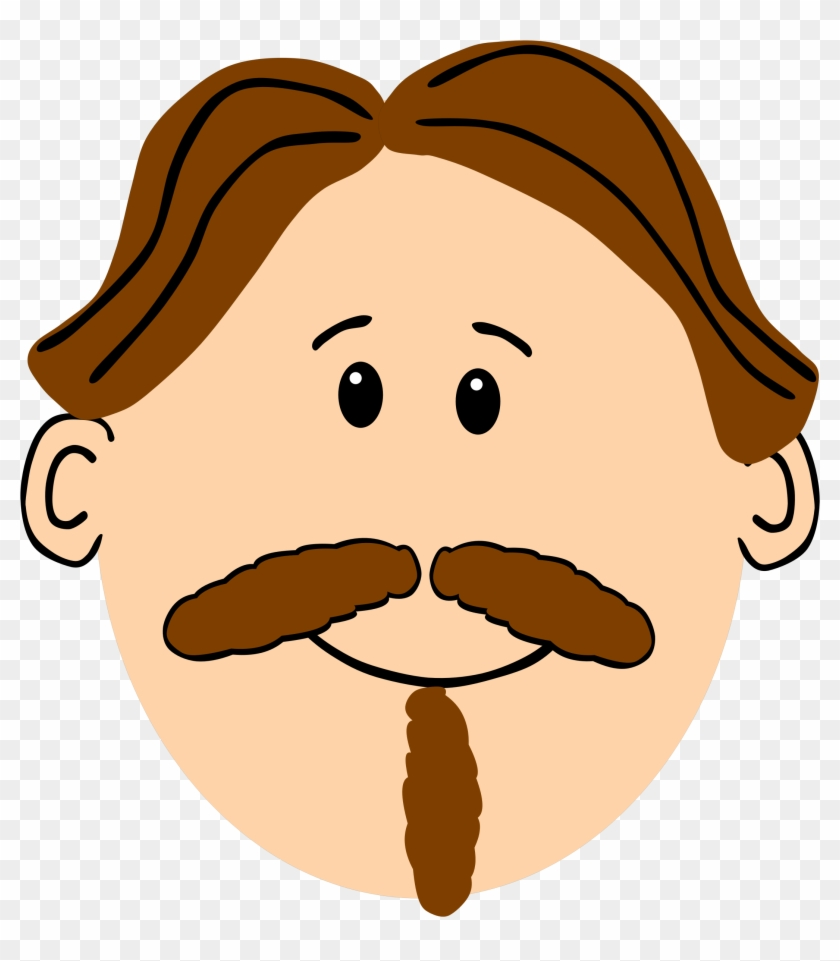 Moustache Beard Cartoon Brown Hair.
