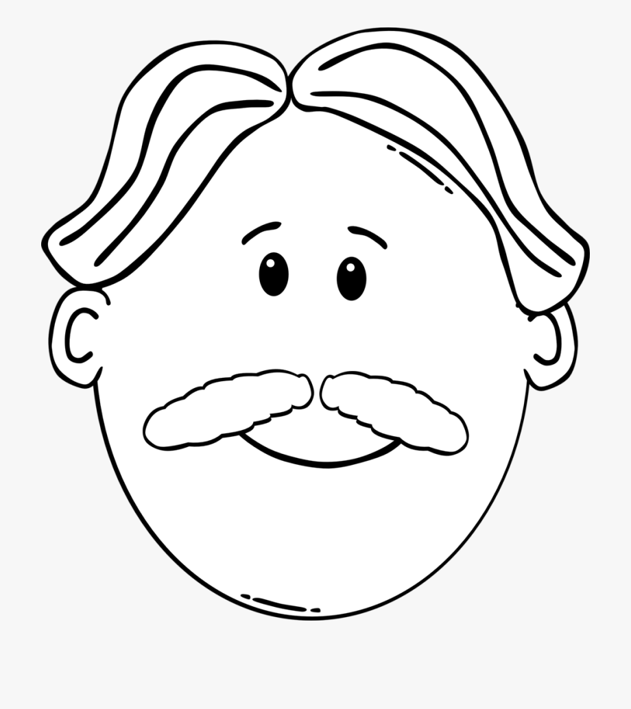 Moustache Coloring Book Man Beard Face.