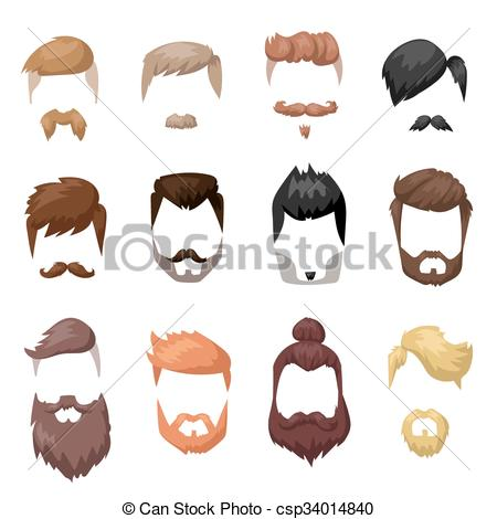 EPS Vector of Hairstyles beard and hair face cut mask flat cartoon.