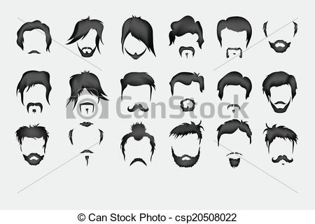 Vector Illustration of Vector set. hair, mustache, beard men retro.