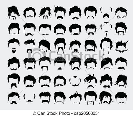 Vector Clip Art of mustache, beard and hairstyle hipster vector.