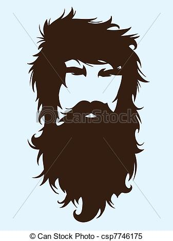 Clipart Vector of Bearded man silhouette illustration with long.