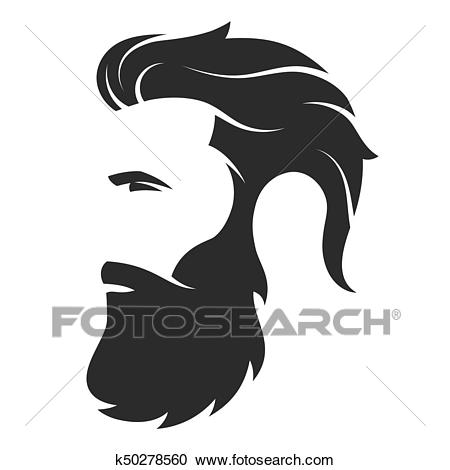 Silhouette of a bearded man, hipster style. Barber shop emblem. Clipart.
