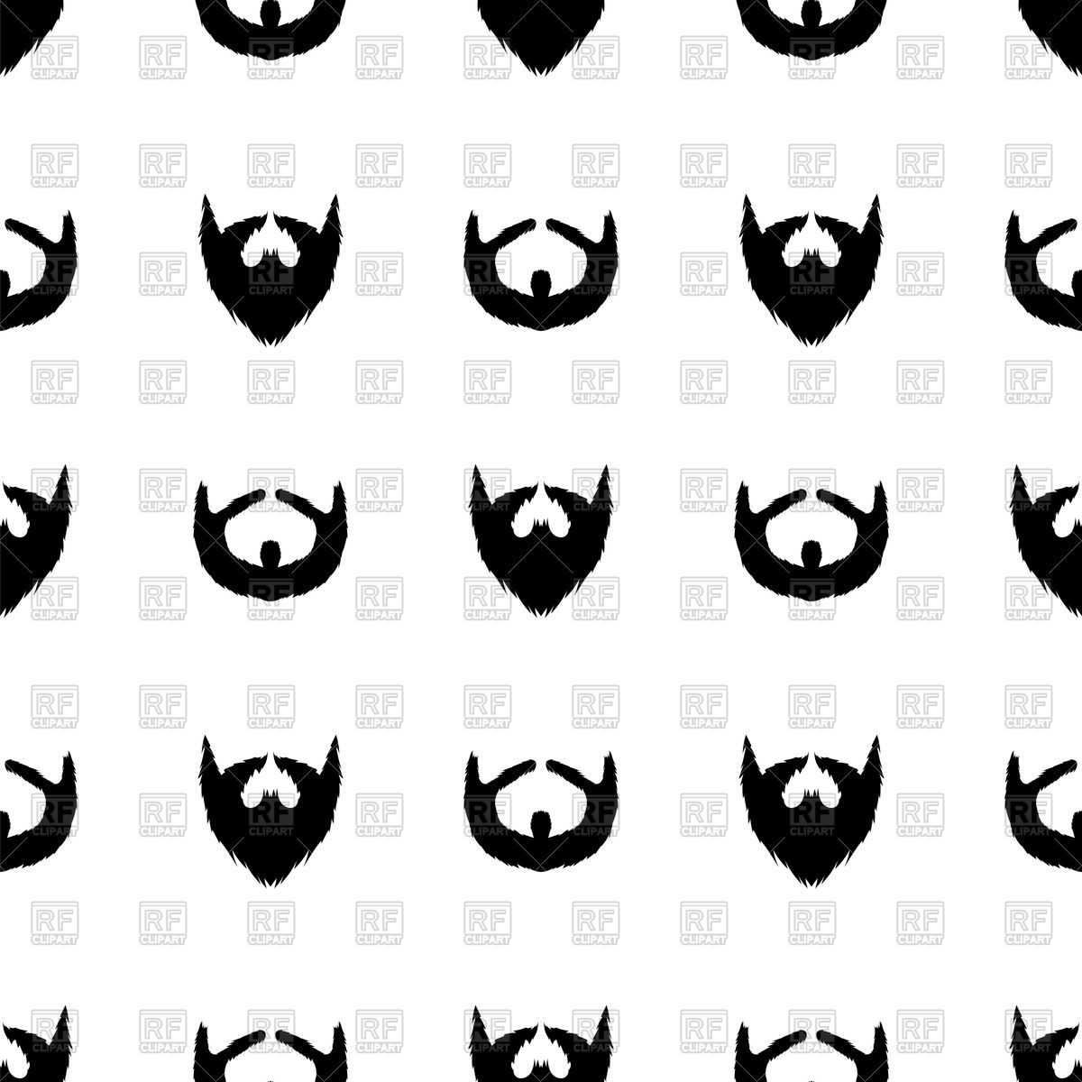 Beard silhouette seamless pattern Stock Vector Image.
