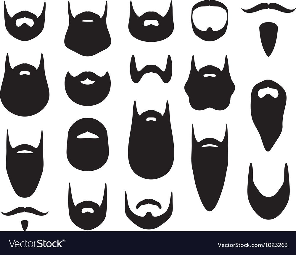 Set of beard silhouettes.