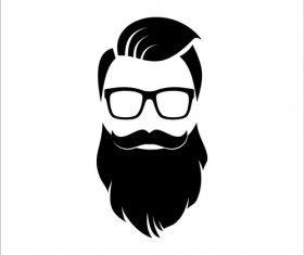 Long beard hipster head portrait vector set 06 in 2019.
