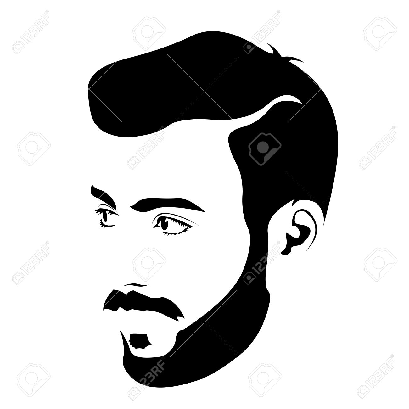 Bearded young man clipart.