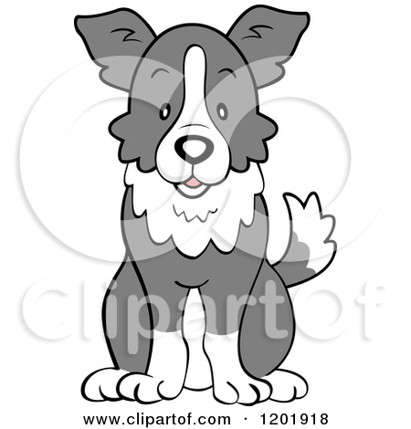 Cartoon of a Cute Border Collie Dog Sitting.