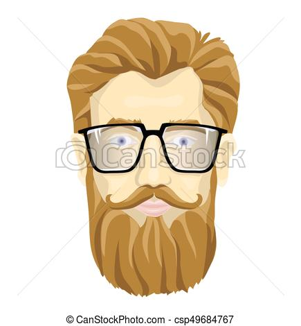 Face of a bearded man with glasses. Vector portrait illustration, isolated  on white background..
