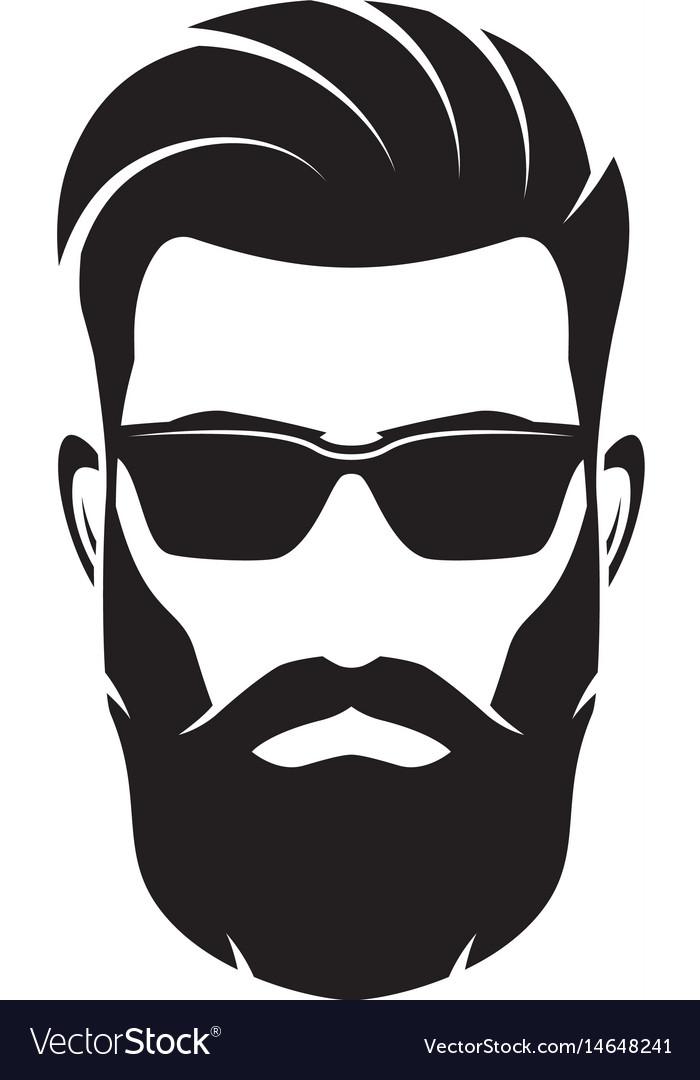 Bearded men face hipster character.