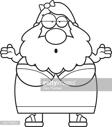 Confused Cartoon Bearded Lady Clipart Image.