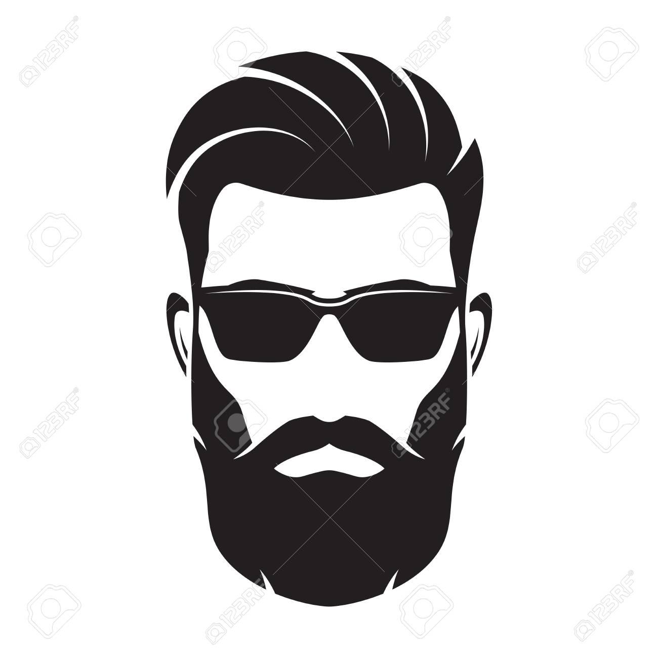 Bearded men face, hipster character. Vector illustration..