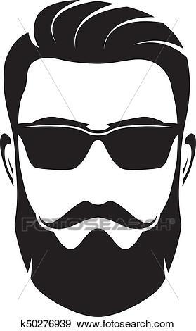 Bearded men face, hipster character. Vector illustration. Clip Art.