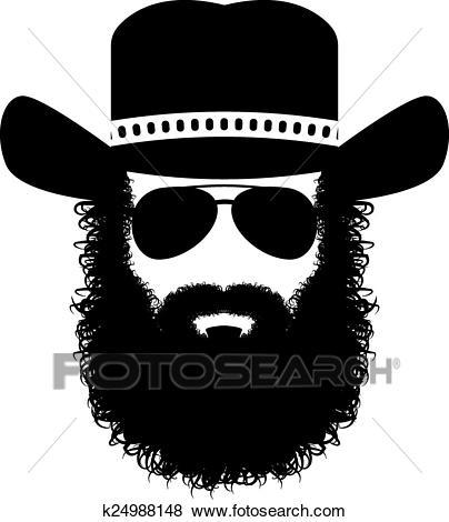 Bearded man silhouette Clip Art.