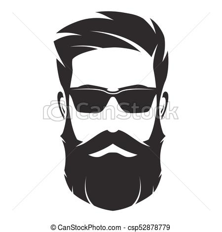 Bearded man s face, hipster character. Fashion silhouette, avata.