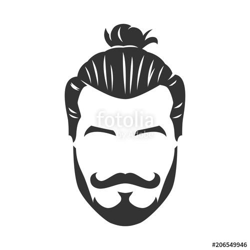 Vector Hipster Man Bearded Face With Bun #436352.