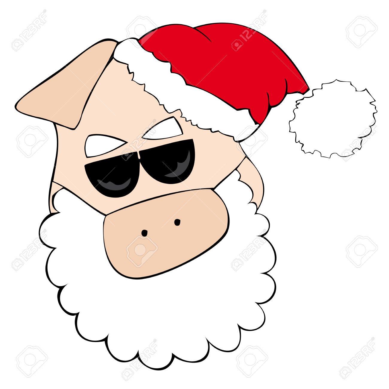 Pig with sunglasses clipart.