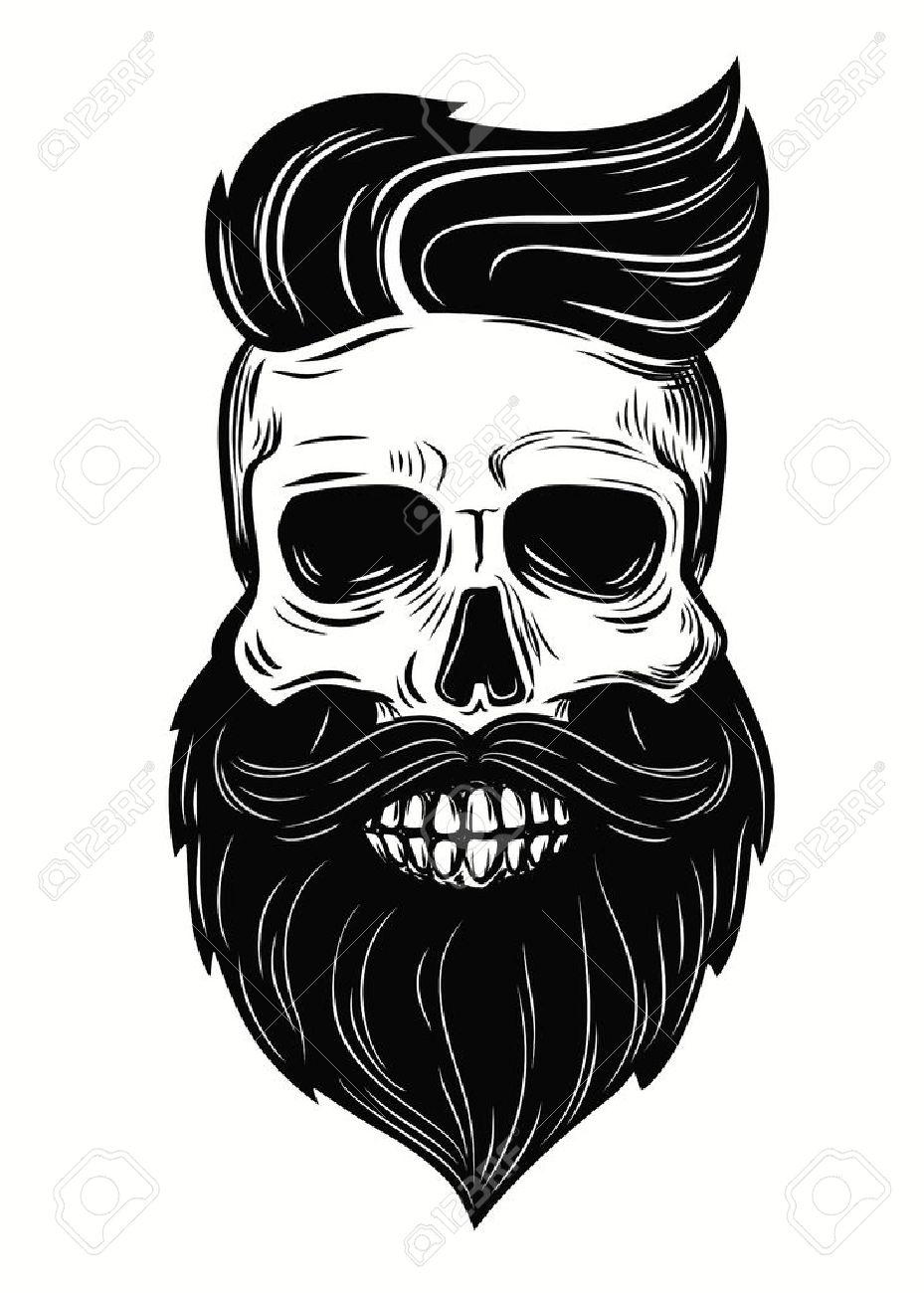 Bearded skull illustration on white background.