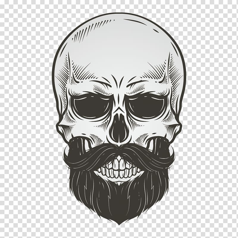 Skull Beard Drawing Illustration, bearded skull, gray skeleton skull.