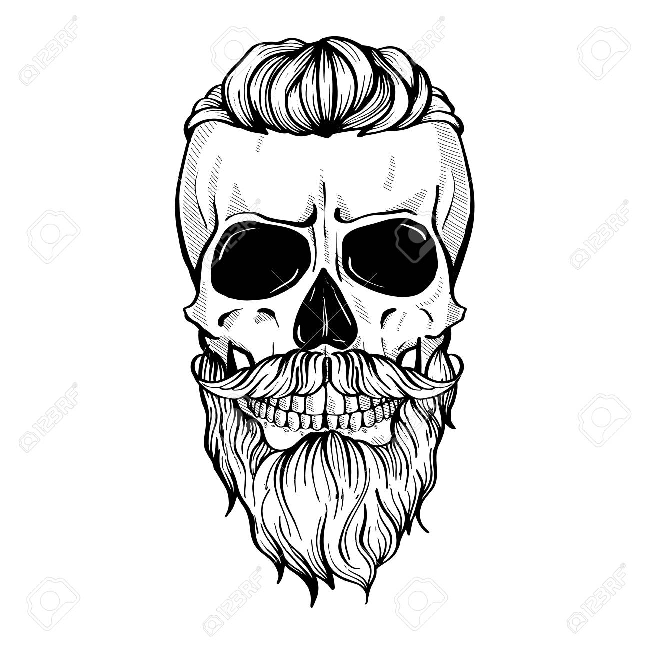 Skull with hairstyle tail, moustaches and beard, line art.
