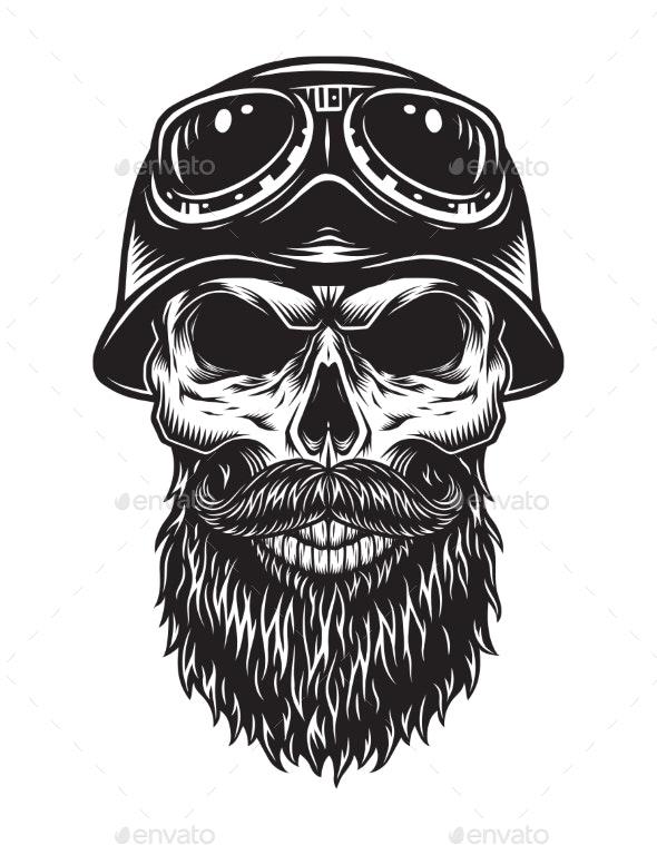 Vintage Bearded Skull Biker Concept.