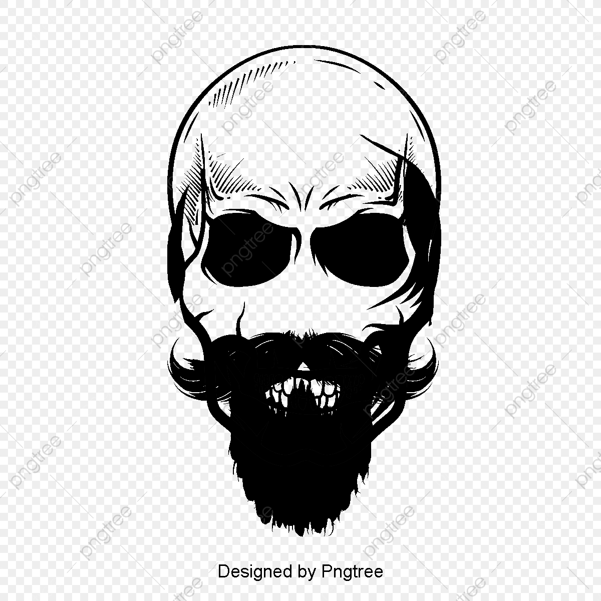 Vector Bearded Skull, Skull, Bone Material, Skull PNG Transparent.