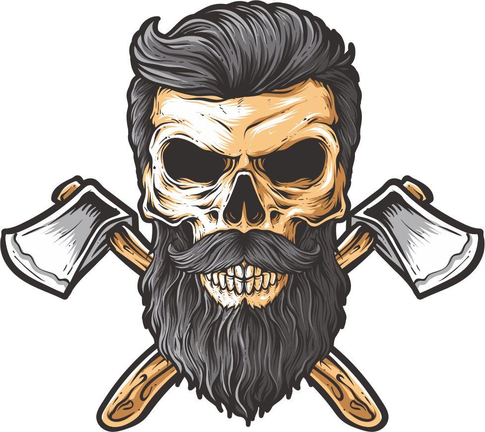 Bearded skull illustration on white background Free Vector Cdr Free.