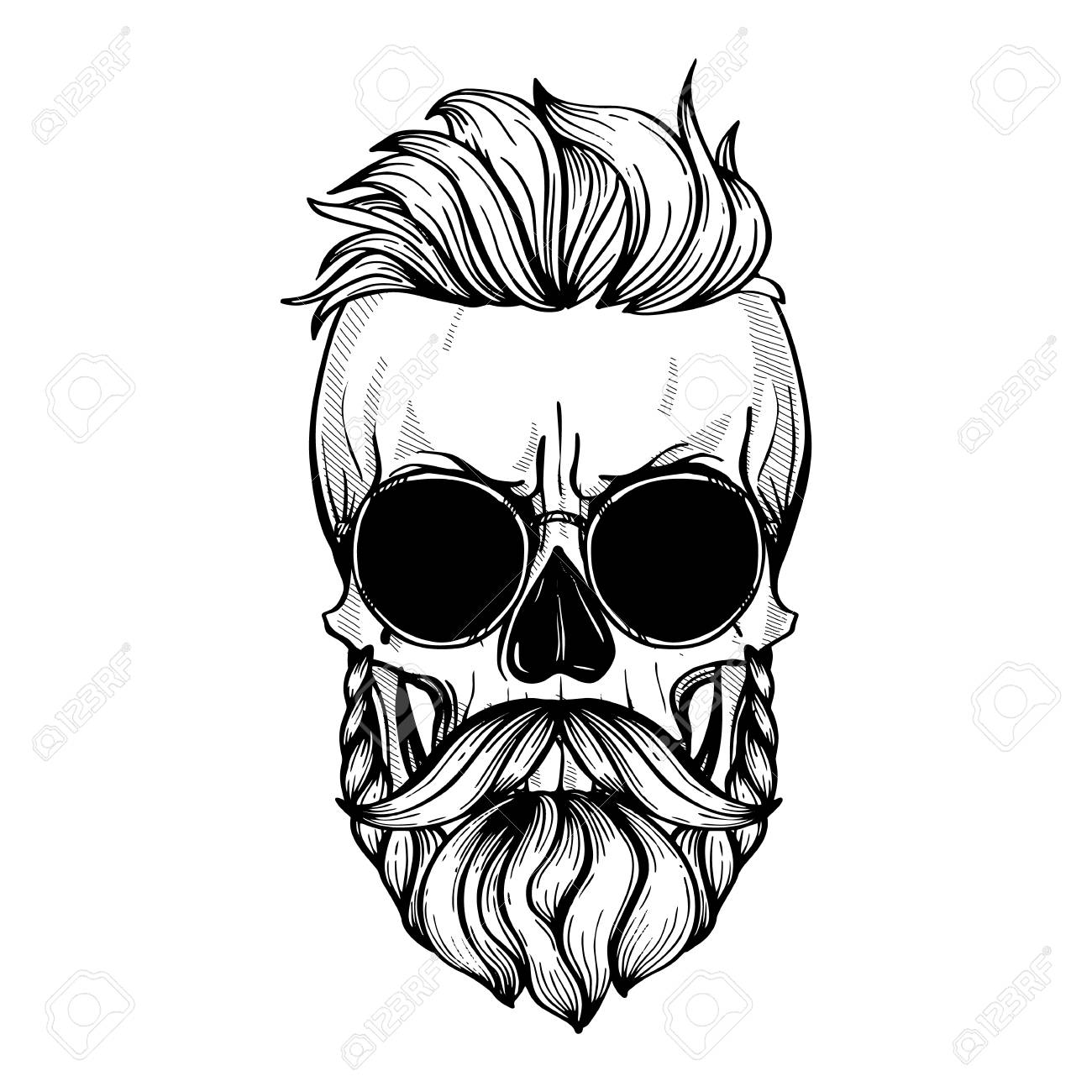 Angry skull with hairstyle, moustaches, beard and sunglasses,...