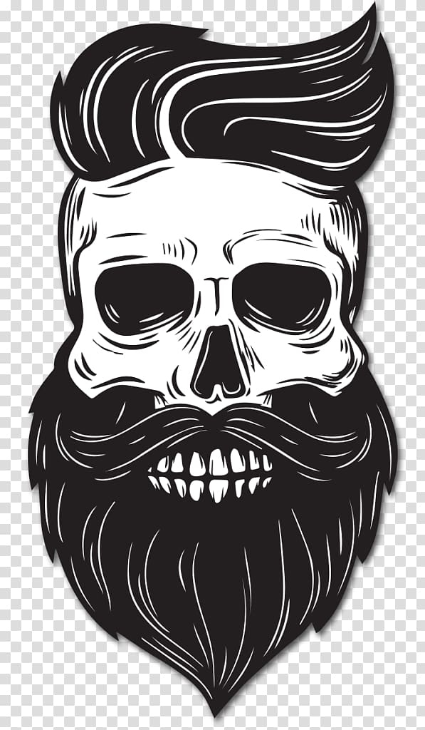 Beard Drawing Skull, Beard, skull with beard and hair sticker.