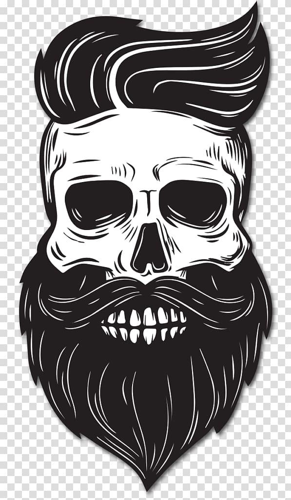 Beard Drawing Skull, Beard, skull with beard and hair sticker.