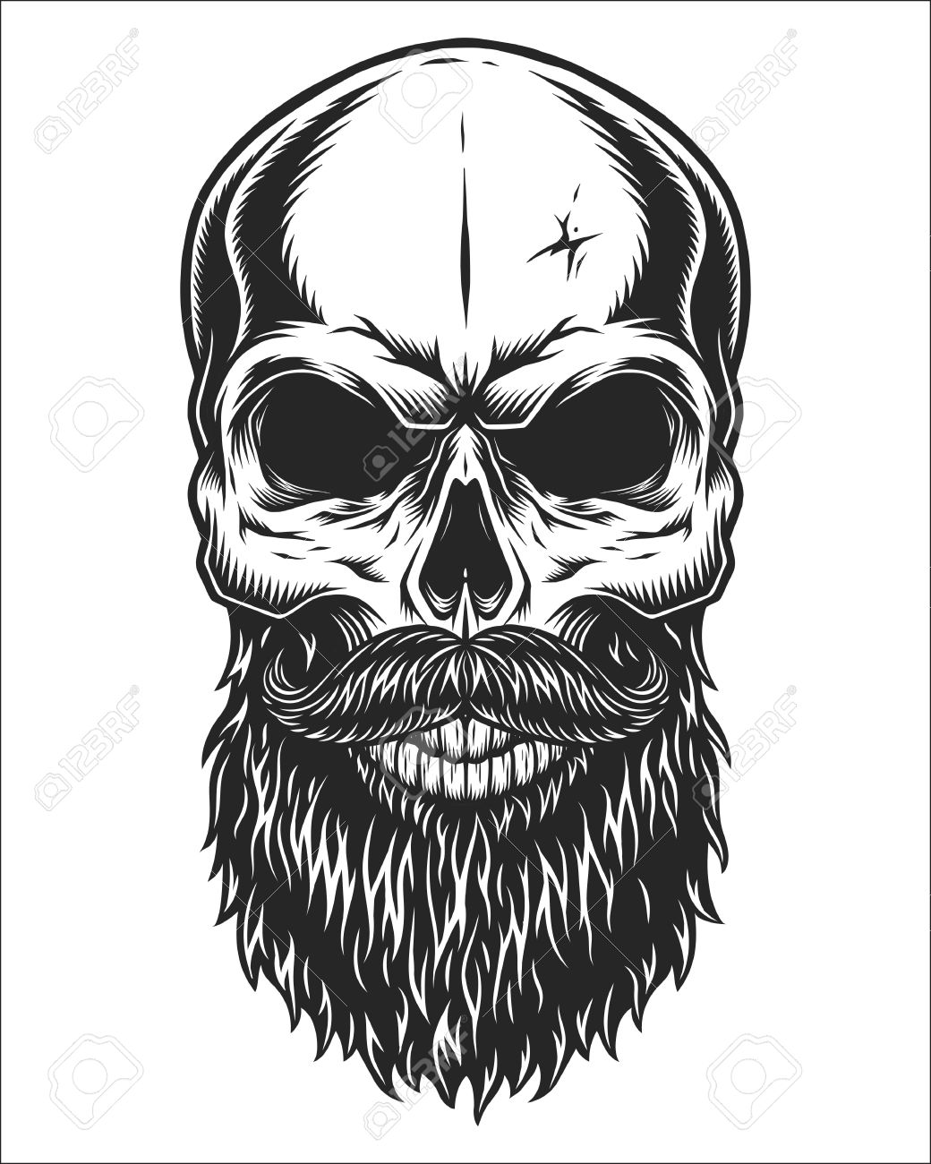 Monochrome illustration of hipster skull with mustache and beard.