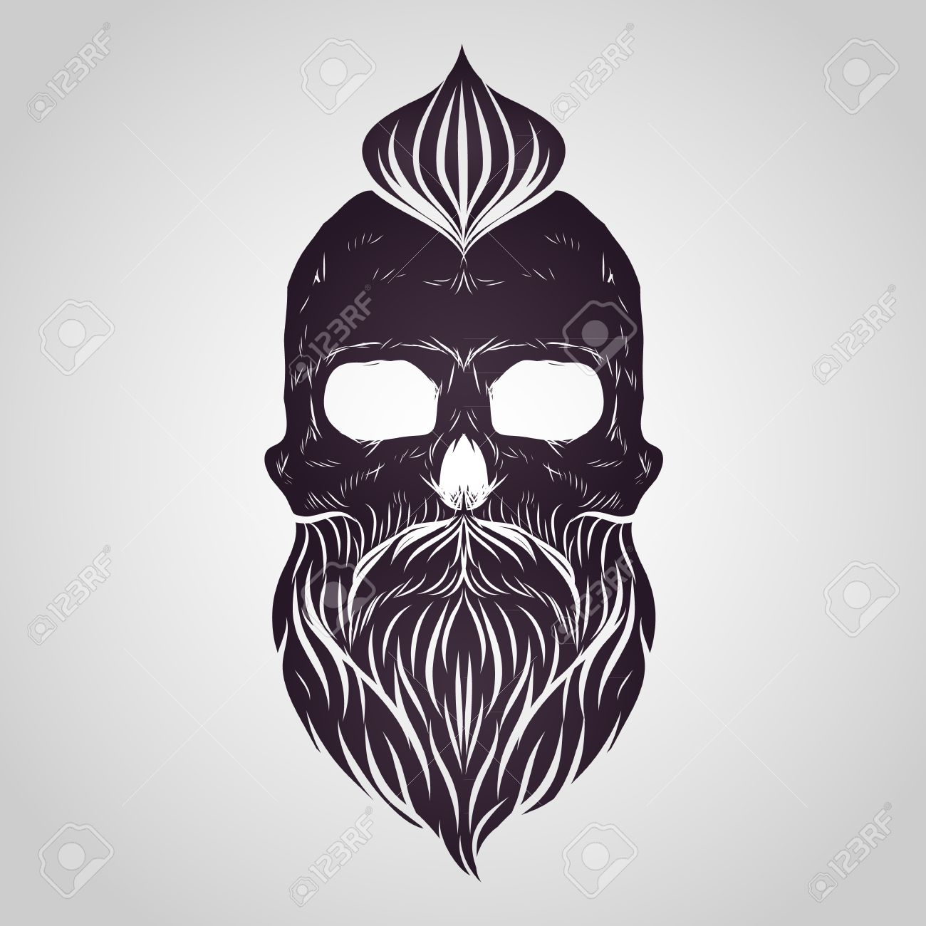 Bearded skull vector.