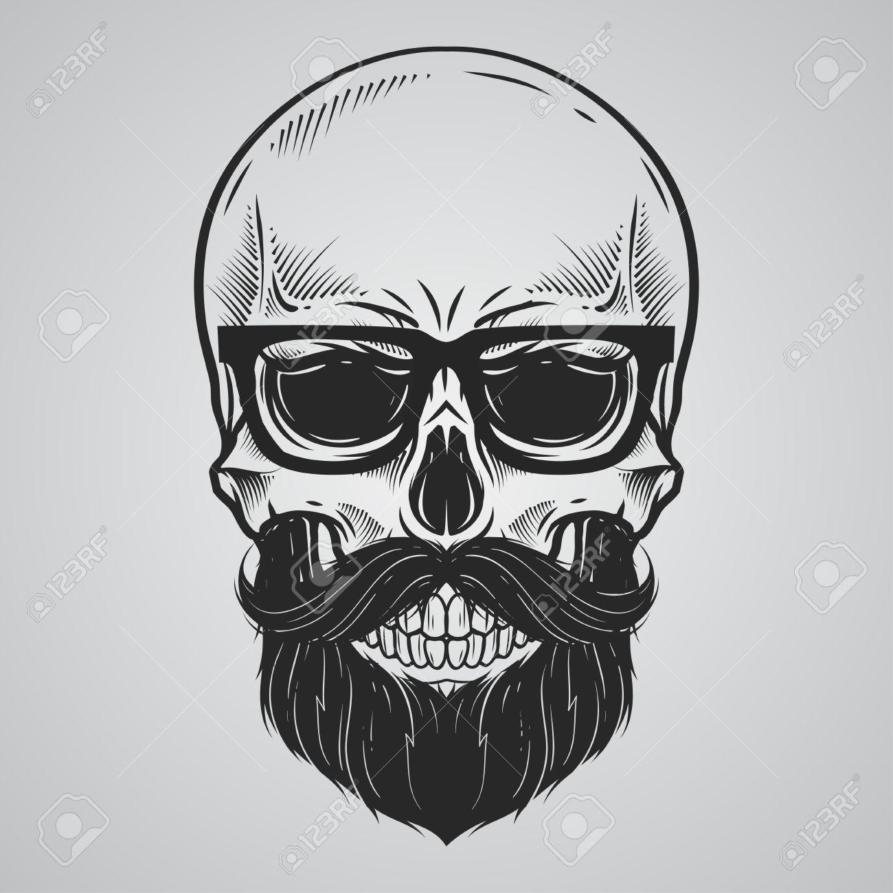 Bearded skull illustration.