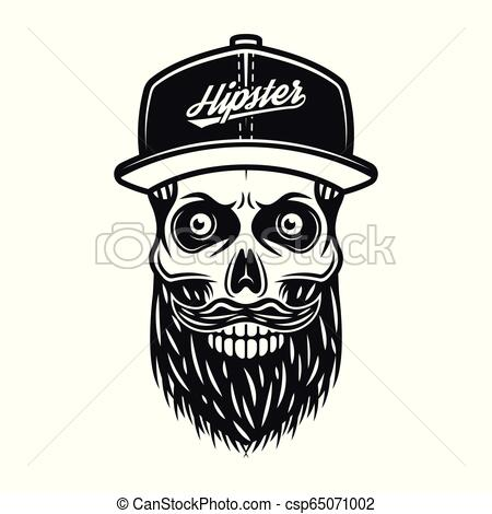 Bearded skull in baseball cap with text hipster.