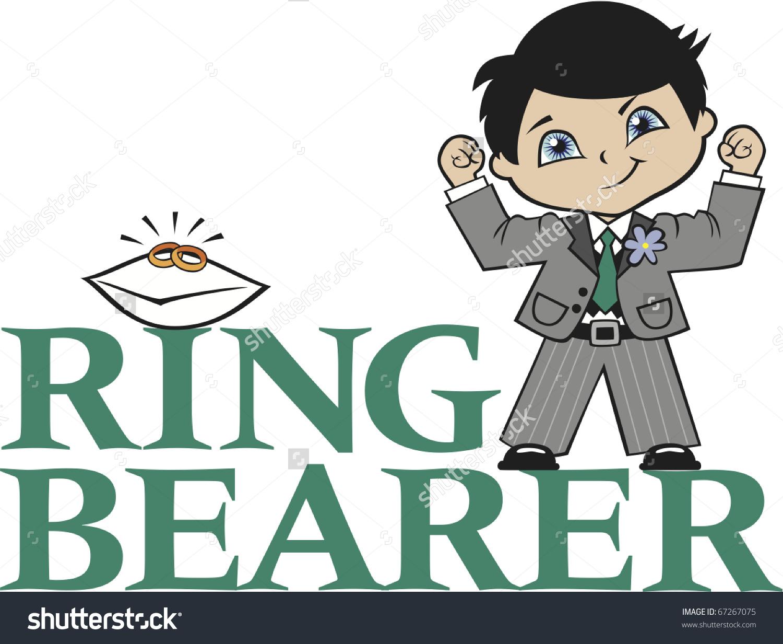 Ring Bearer Little Boy Black Hair Caucasian Stock Vector.