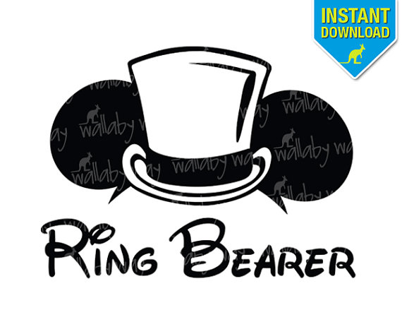 Disney Wedding Ring Bearer Mickey Ears Printable Iron On Transfer.