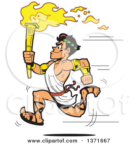 Clipart Of A Muscular Olympic Greek Torch Bearer Man Running in a.