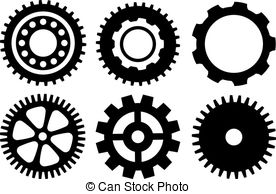 Vector Clipart of Cogwheel and bearings icons.