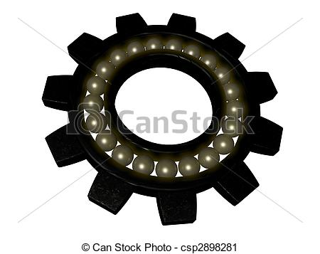 Clipart of bearing gear isolated on white.