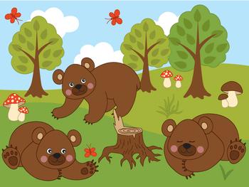 Woodland Bears Clipart.