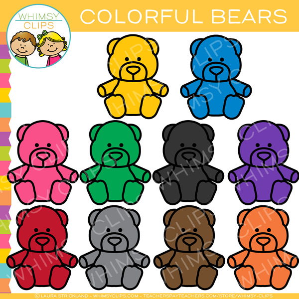 Cute and Colorful Bears Clip Art.