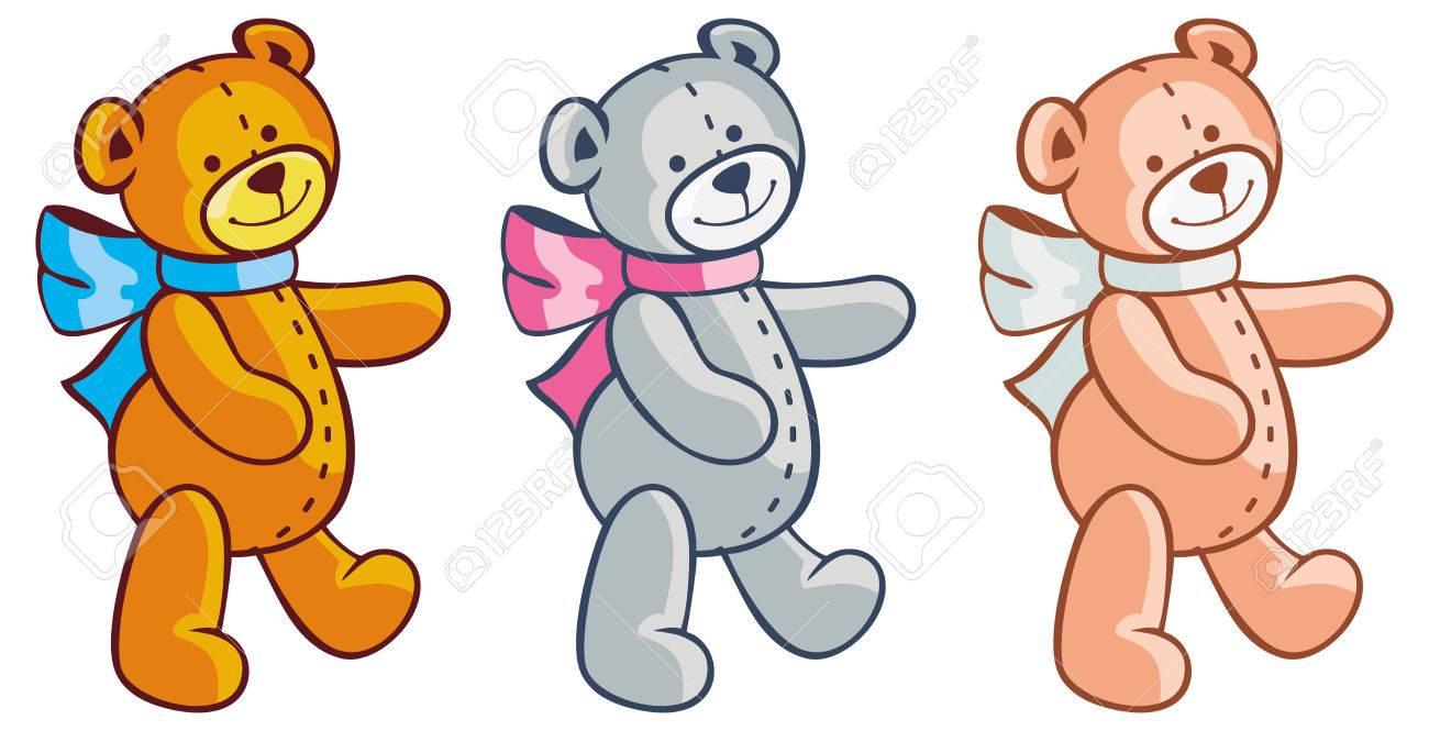 Three cute teddy bears. Children toys. Raster clip art..
