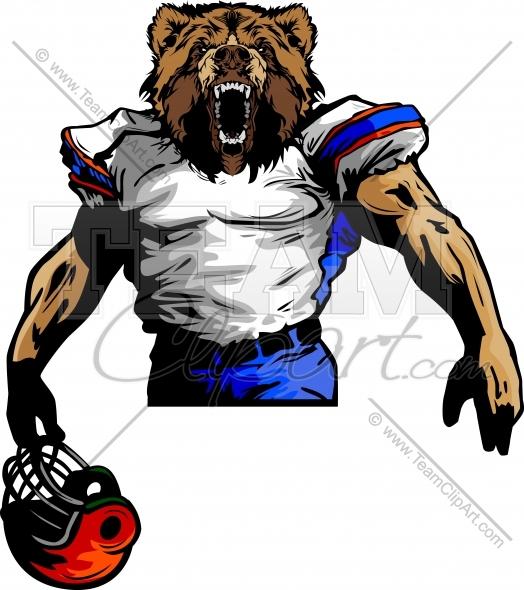 Bear Football Player Vector Image.