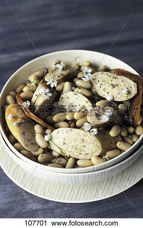 Stock Photography of White beans with white sausage and bear's.