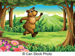 A bear at the forest holding a pot of honey. Illustration of.