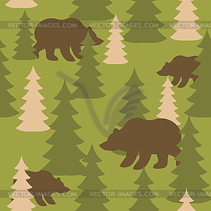 Military camouflage background bears in woods..